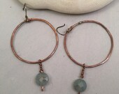 Copper and Aquamarine Gemstone Sterling Silver Earrings