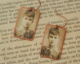 Nellie Bly earrings mixed media jewelry feminist jewelry