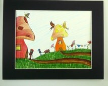 Colorful original pen and ink drawing, Gnomes with mushrooms butterflies and flowers. Fantasy art.