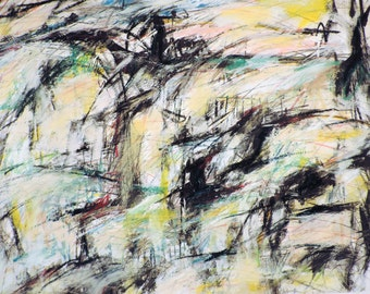 6-2-15  (abstract painting, black, pastel, white, ivory, brown, cream, gold, red, blue)