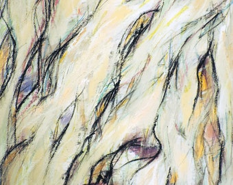 6-14-15 (abstract expressionist painting, black, pastel, blue, yellow, white, green, cream, gold)