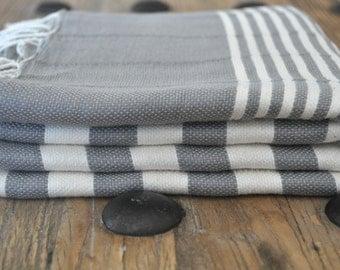 Turkish Towel Peshtemal Towel Woven Grey ivory striped for Bath and Beach