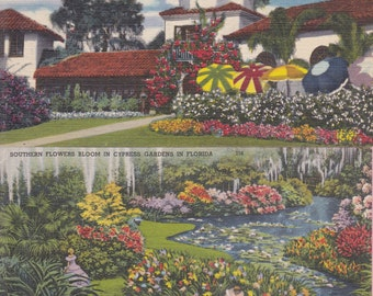 "Pair of Ca. 1940's ""Clubhouse and Flowers"" Cypress Gardens, FL LinenTopographical Picture Postcards - 2157"