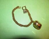 Vintage Gold Tone Charm Three Picture Locket Bracelet