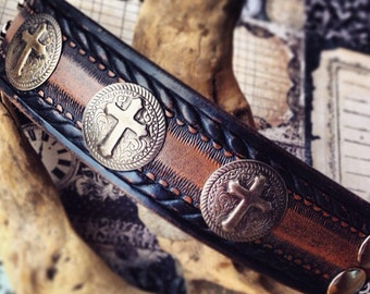 Handmade Leather Wristband with Rusic Crosses