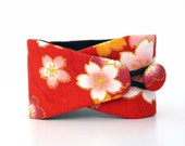 Obi bracelet Fleur de cerisier- japanese fabric 100%cotton - pink, red and orange bracelet with flowers