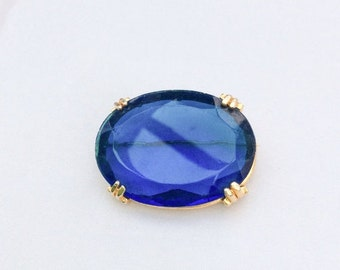 Blue Glass Brooch, Victorian Revival, Mid Century Vintage Jewelry, SUMMER SALE