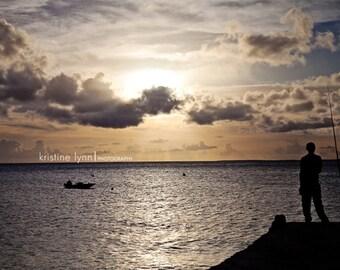 fisherman sunset color print, still life photography, ocean, sunset, fisherman, silhouette, caribbean, dock, sky