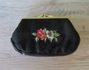 Vintage handbag black floral needlepoint clutch Purse evening Handbag Shabby chic