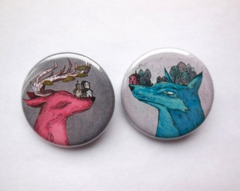mystical deer and wolf illustrated pin back buttons, illustrated pin, brooch