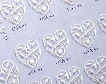 50 pieces - 2007 41 cent Love Heart (pale lavender purple) stamps - great for valentines, wedding invitations, save the dates