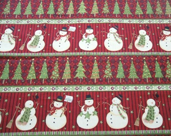 Snowman in Red Fabric -  Christmas Fabric -  1 Yard