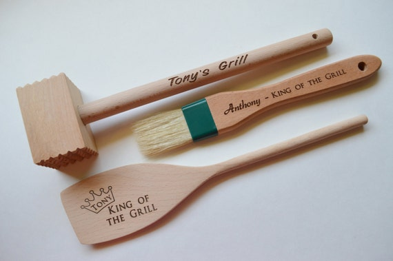 Personalized Grill Set Grill Set Wood Utensils Grill