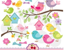 Little Birds clipart digital set  for-Personal and Commercial Use-paper crafts,card making,scrapbooking,web design