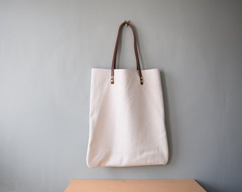 HANDA Leather Tote Bag - Leather Shoulder Bag POLAR WHITE colour Shopper Bag by Holm