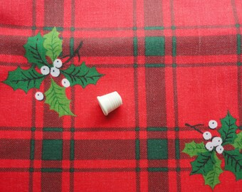 red and green plaid christmas vintage cotton fabric -- 44 wide by 3 1/2 yards
