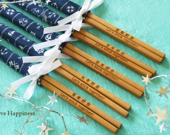 Personalised Engraved Chopsticks/ Party Gifts/Wedding Favours/ Nautical theme (min 20 pairs)