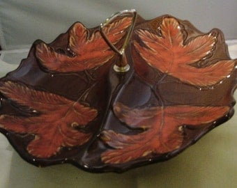 California Pottery divided serving Dish