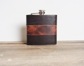 Peat & Rust || Custom Leather Flask - Rugged Strips, genuine leather,  personalized leather flask
