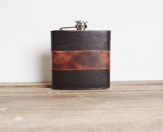Peat & Rust, Custom Leather Flask, Rugged Strips, genuine leather,  personalized leather flask