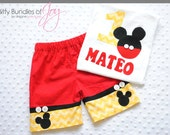 Mickey Mouse Birthday Outfit Including Free Personalized Shirt or Infant Bodysuit and Shorts with Real Buttons - Gold Yellow Chevron Print