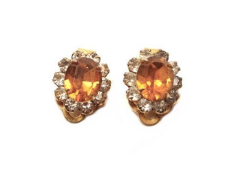 Vintage Topaz Rhinestone Clip On Earrings