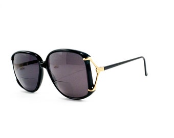 Vintage Marchon Designer Optical Sunglasses Rx 125 Gold Black Frame 1980s