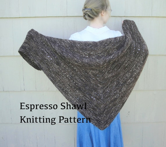 Knit Lace Shawl Pattern Easy : Espresso Shawl PDF Knitting Pattern Easy Knit Worsted by Girlpower