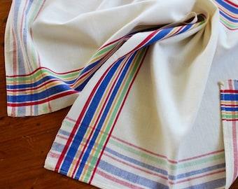 Vintage Dish Towel Cotton Linen Multi Stripe Cobalt Blue Martex Kitchen Bright Primary Colors Runner