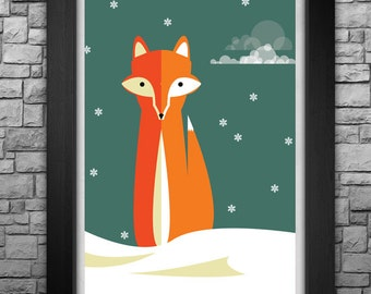 WINTER FOX limited edition art print. Available in 3 sizes!