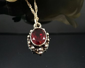 Vintage Garnet Pendant  January Birthstone Pendant  Gift For Her  Garnet Jewelry