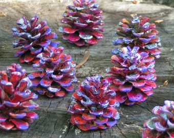 Hand Painted Pine Cones in Red, Yellow, Pink, Lavender****Flat Bottoms****Sparkling Fairy Glitter****Set of 12****Wedding Table Decorations