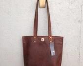 Brown Kodiak Leather Tote / Tear Drop