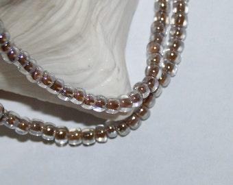 Bracelet Multi Strand Crystal Mocha Lined Boho Hippie Czech Glass Seed Beads Double Stranded Bracelets Handmade by CzechBeaderyShop Jewelry