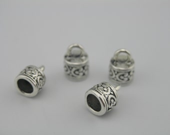 5 Sets/10pcs  Anqitue Silver Textured Round Dia. 6.0mm Leather Cord End Cap/Clasp