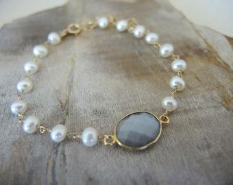 Pearl Bracelet, Fresh Water Pearl Jewelry, Gray Moonstone Bracelet, 18K Gold Vermeil Bezel Bracelet, Jewelry Gifts For Her, June Birthstone