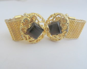 Vintage Gold Tone and Brown and Black Stone Wrap Cuff Links