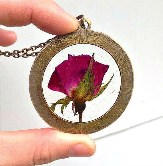 Real Rose Pressed and Preserved in Resin enclosed in Large Bronze Pendant, Bronze Chain Necklace.