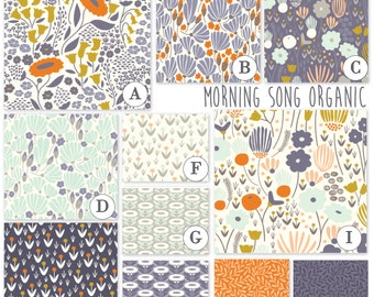 Custom ORGANIC Baby Crib Bedding- 3 piece set- Morning Song Organic - Bumper, sheet and skirt.