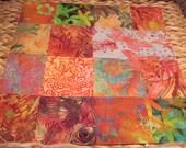 """14"""" x 14"""" Batiks Pillow COVER - 13 Vibrant Salmon and Peach Orange Saffron Butterflies Garden 15 Squares"""