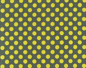 Ta Dot by Michael Miller - Moss - Yellow on Grey - FQ Fat Quarter yard cotton quilt fabric 516