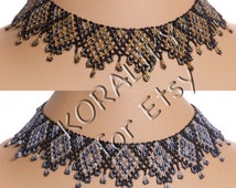Black /BRONZE /Gold or Black /GRAY Metallic /Silver. Traditional Ukrainian Folk Handmade Beaded NECKLACE Gerdan.
