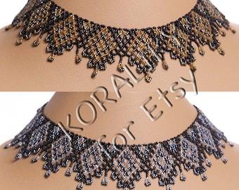 Black /BRONZE /Gold or Black /GRAY Metallic /Silver. Traditional Ukrainian Folk Handmade Beaded NECKLACE Gerdan.