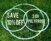 """SALE 10% off - Set Of 3 UV POLYPRO Hula Hoop - 1 Push Button Exercise Body Hoop & 2 Mini Arm Hoops - 5/8""""  3/4"""" optional grip"""