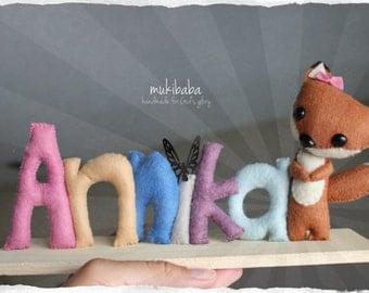BABY FOX, forest animals, custom name, woodland nursery, baby gift