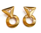 Geometric gold earrings, large statement earrings, circle and triangle brushed gold pierced earrings, mod