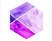 Color Block Purple Geometric Hexagon Watercolor / Geometric Artwork / Nate Berkus inspired #geometric #hexagon #purple #etsy #nateberkus