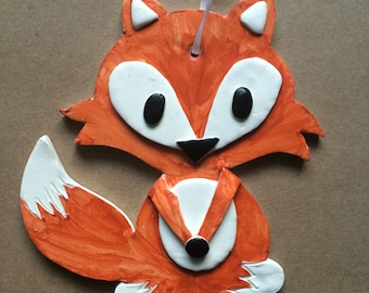 Mr. Fox Handpainted Clay Ornament