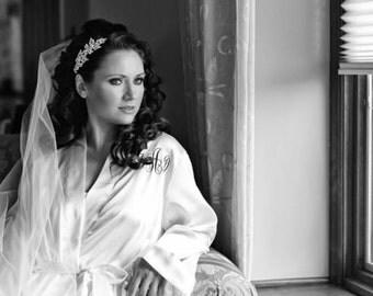 Crystal rhinestone bridal headpiece, brown or ivory headband, brides headpiece, bridal headband, bridal headdress