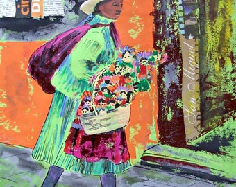 "SALE Original mixed media green dress Mexican woman with typical dolls in a street, on paper  19.5""x 27.5"""